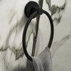 Arezzo Matt Black Round Towel Ring profile small image view 1