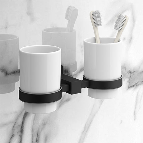 Arezzo Matt Black Tumbler Holder & Double Cup