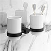 Arezzo Matt Black Tumbler Holder & Double Cup profile small image view 1