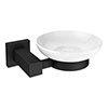 Arezzo Matt Black Soap Dish & Holder profile small image view 1