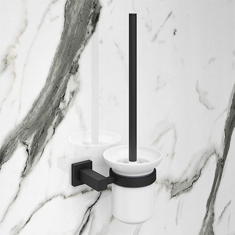 Arezzo Matt Black Toilet Brush & Holder
