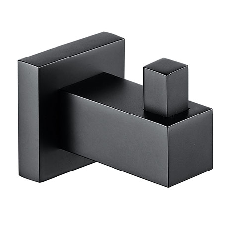 Arezzo Matt Black Modern Single Robe Hook