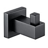 Arezzo Matt Black Modern Single Robe Hook profile small image view 1