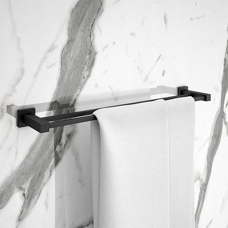 Arezzo Matt Black Modern Double Towel Rail