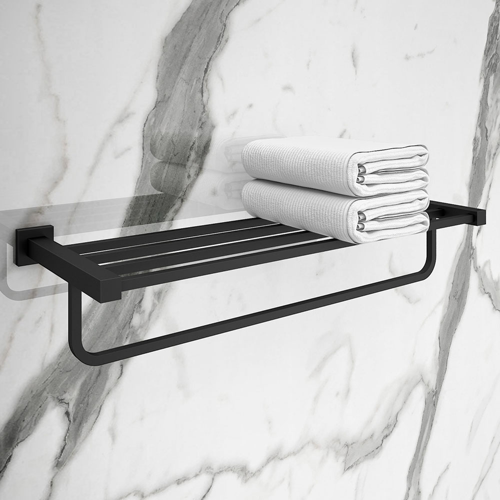 Arezzo Matt Black 600mm Towel Shelf