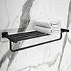 Arezzo Matt Black 600mm Towel Shelf profile small image view 1