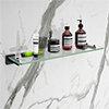 Arezzo Matt Black Modern Single Glass Shelf profile small image view 1