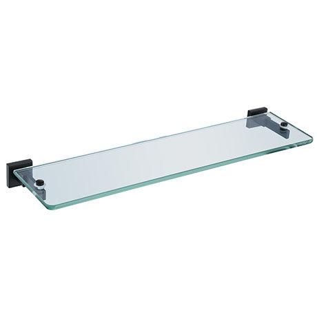 Arezzo Matt Black Modern Single Glass Shelf