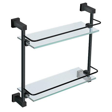 Arezzo Matt Black Modern Double Glass Shelf