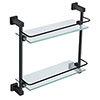 Arezzo Matt Black Modern Double Glass Shelf profile small image view 1