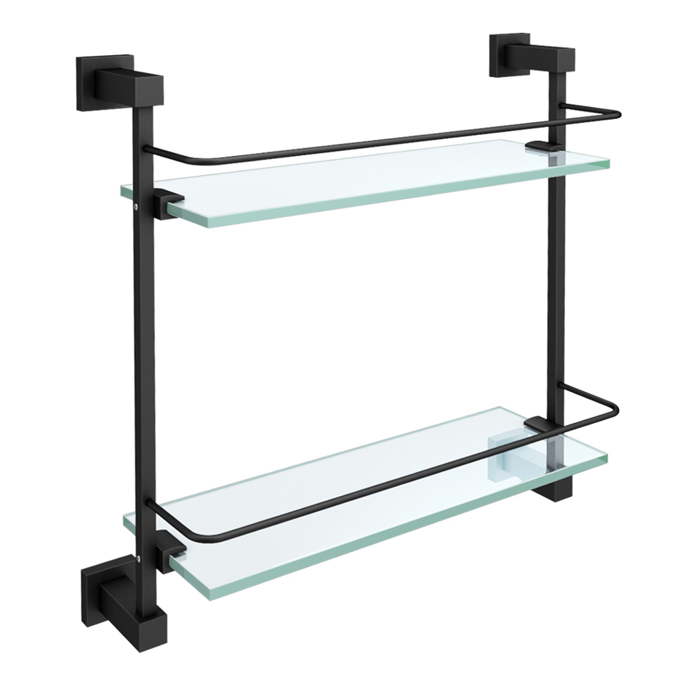 Arezzo Matt Black Modern Double Glass Shelf | Bathroom Wall Ideas