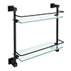 Arezzo Matt Black Modern Double Glass Shelf profile small image view 1