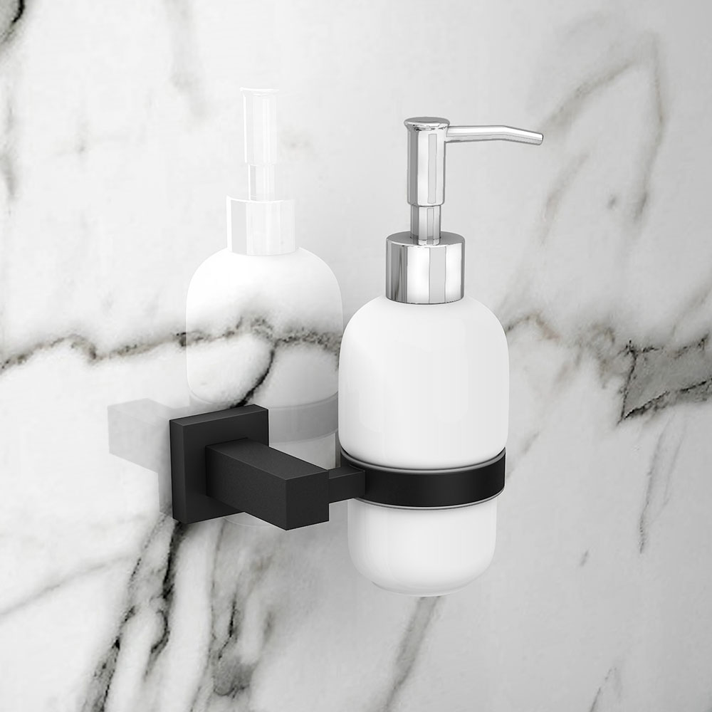 Arezzo Matt Black Soap Dispenser & Holder