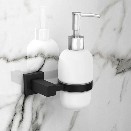 Arezzo Matt Black Soap Dispenser & Holder