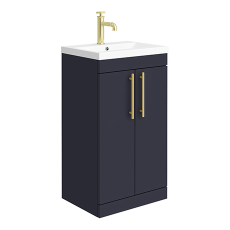 Arezzo Floor Standing Vanity Unit - Matt Blue - 500mm with Industrial Style Brushed Brass Handles