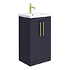 Arezzo Floor Standing Vanity Unit - Matt Blue - 500mm with Industrial Style Brushed Brass Handles profile small image view 1
