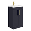 Arezzo 500 Matt Blue Floor Standing Vanity Unit with Brushed Brass Handles profile small image view 1