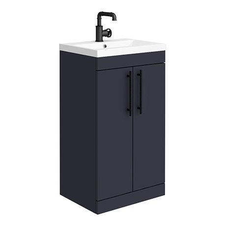 Arezzo Floor Standing Vanity Unit - Matt Blue - 500mm with Industrial Style Black Handles