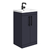 Arezzo Floor Standing Vanity Unit - Matt Blue - 500mm with Industrial Style Black Handles profile small image view 1