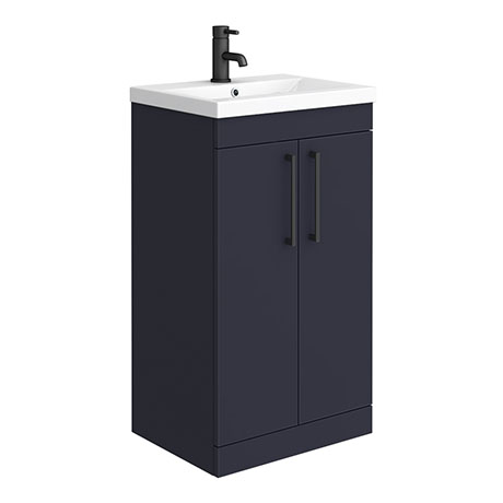 Arezzo 500 Matt Blue Floor Standing Vanity Unit with Matt Black Handles