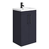 Arezzo 500 Matt Blue Floor Standing Vanity Unit with Matt Black Handles profile small image view 1