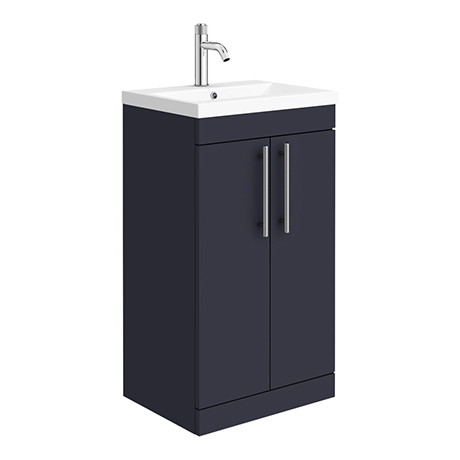 Arezzo Floor Standing Vanity Unit - Matt Blue - 500mm with Industrial Style Chrome Handles
