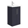 Arezzo Floor Standing Vanity Unit - Matt Blue - 500mm with Industrial Style Chrome Handles profile small image view 1