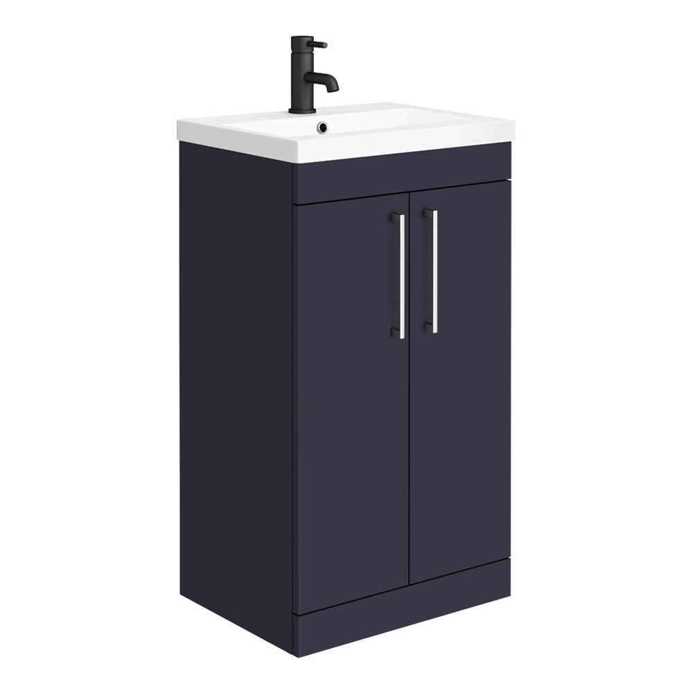 Arezzo 500 Matt Blue Floor Standing Vanity Unit with Chrome Handles
