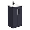 Arezzo 500 Matt Blue Floor Standing Vanity Unit with Chrome Handles profile small image view 1