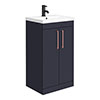 Arezzo 500 Matt Blue Floor Standing Vanity Unit with Rose Gold Handles profile small image view 1