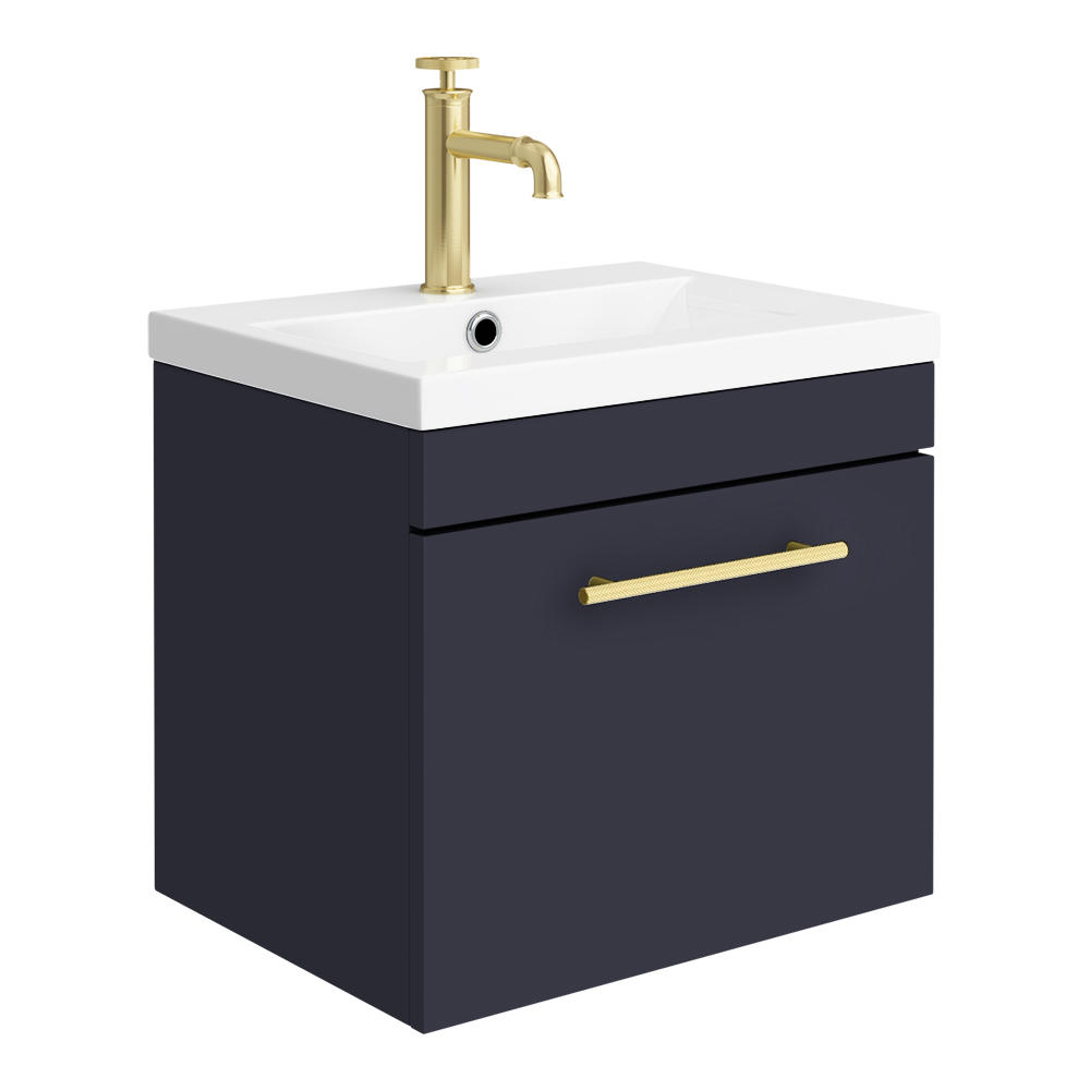 Arezzo Wall Hung Vanity Unit - Matt Blue - 500mm with Industrial Style Brushed Brass Handle