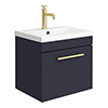 Arezzo Wall Hung Vanity Unit - Matt Blue - 500mm with Industrial Style Brushed Brass Handle profile small image view 1