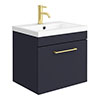 Arezzo 500 Matt Blue Wall Hung 1-Drawer Vanity Unit with Brushed Brass Handle profile small image view 1