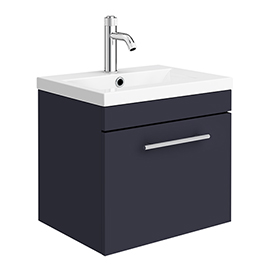 Arezzo Wall Hung Vanity Unit - Matt Blue - 500mm with Industrial Style Chrome Handle