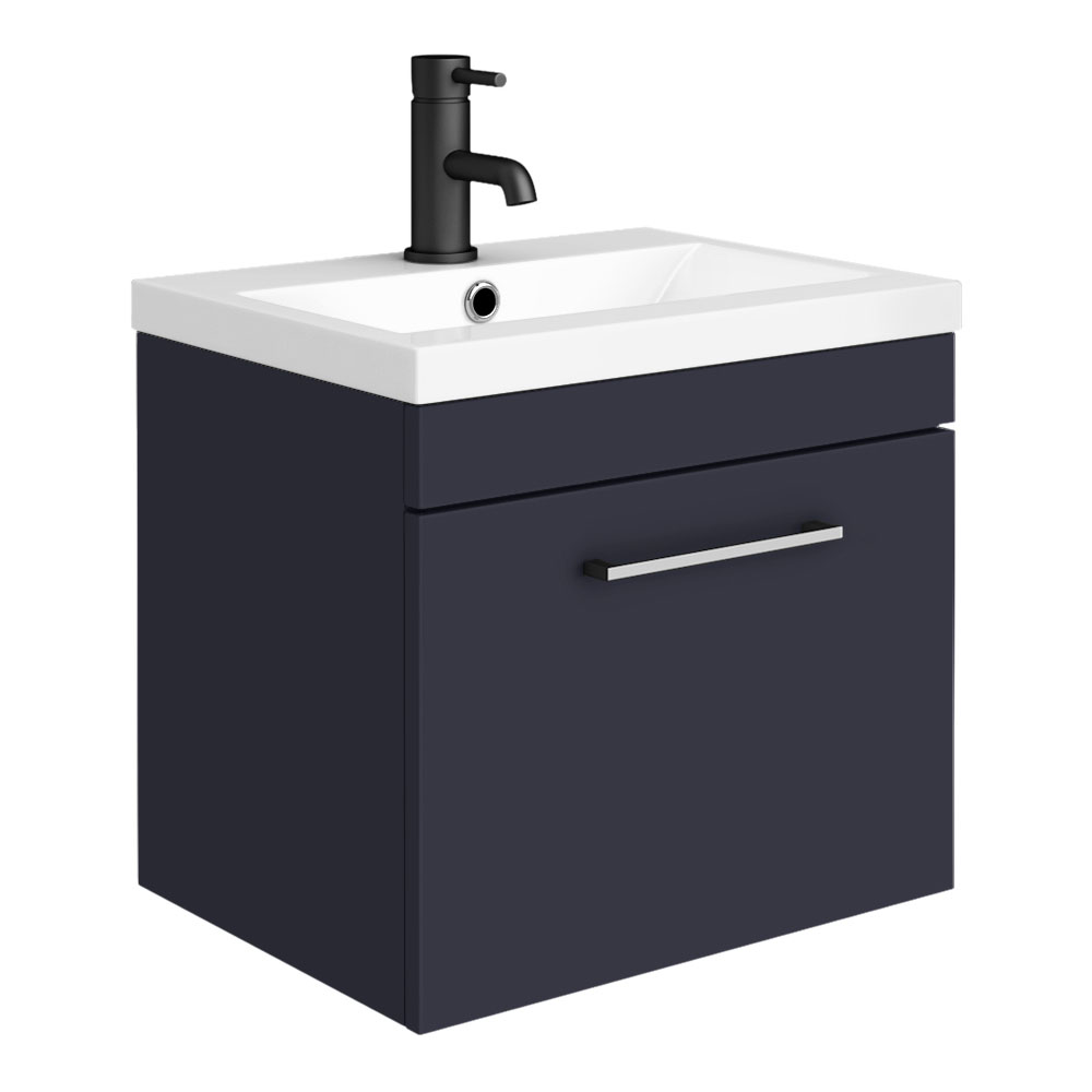 Arezzo 500 Matt Blue Wall Hung 1-Drawer Vanity Unit with Chrome Handle