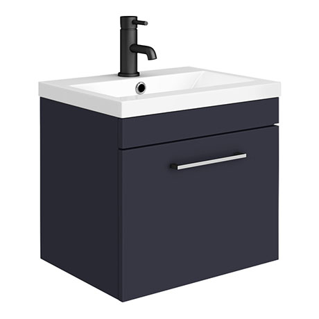 Arezzo 500 Matt Blue Wall Hung 1-Drawer Vanity Unit with Chrome Handle