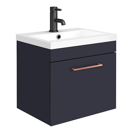 Arezzo 500 Matt Blue Wall Hung 1-Drawer Vanity Unit with Rose Gold Handle