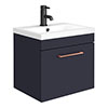 Arezzo 500 Matt Blue Wall Hung 1-Drawer Vanity Unit with Rose Gold Handle profile small image view 1