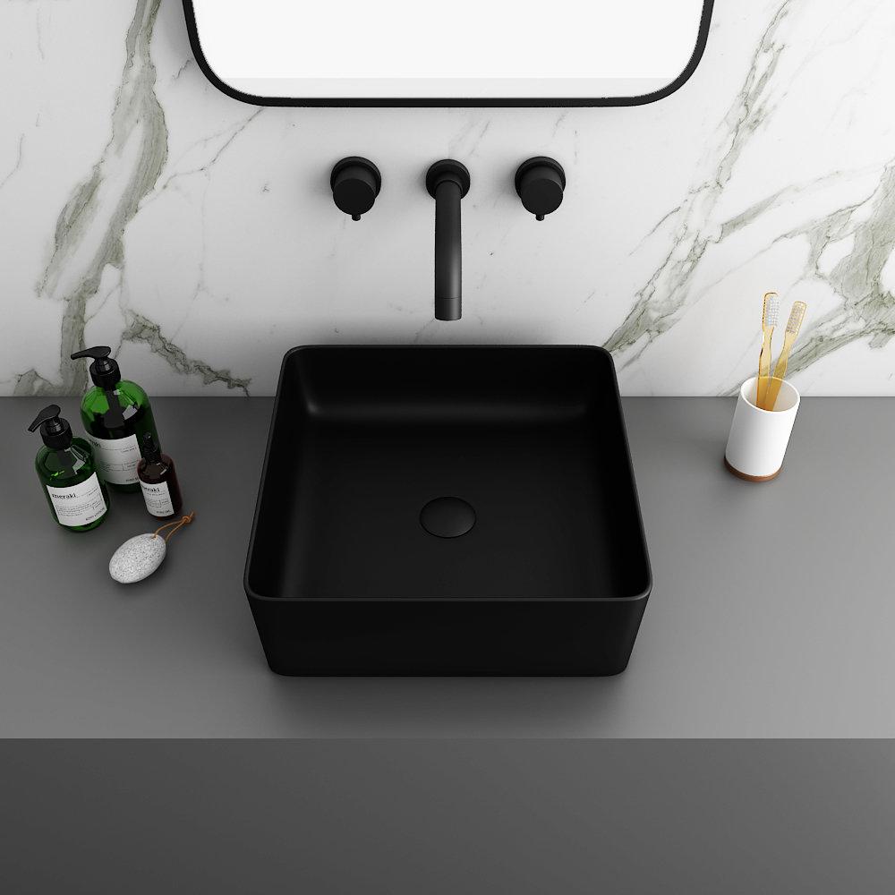 Arezzo 380 x 380mm Matt Black Square Counter Top Basin