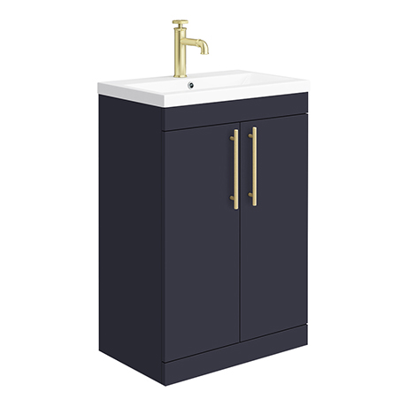 Arezzo Floor Standing Vanity Unit - Matt Blue - 600mm with Industrial Style Brushed Brass Handles
