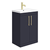 Arezzo Floor Standing Vanity Unit - Matt Blue - 600mm with Industrial Style Brushed Brass Handles profile small image view 1