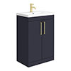 Arezzo 600 Matt Blue Floor Standing Vanity Unit with Brushed Brass Handles profile small image view 1