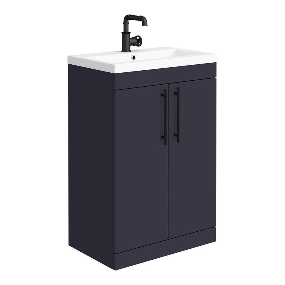 Arezzo Floor Standing Vanity Unit - Matt Blue - 600mm with Industrial Style Black Handles