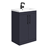 Arezzo Floor Standing Vanity Unit - Matt Blue - 600mm with Industrial Style Black Handles profile small image view 1