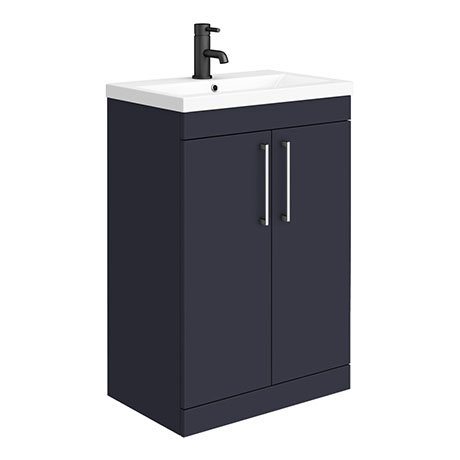 Arezzo 600 Matt Blue Floor Standing Vanity Unit with Chromes Handles