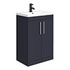 Arezzo 600 Matt Blue Floor Standing Vanity Unit with Chromes Handles profile small image view 1