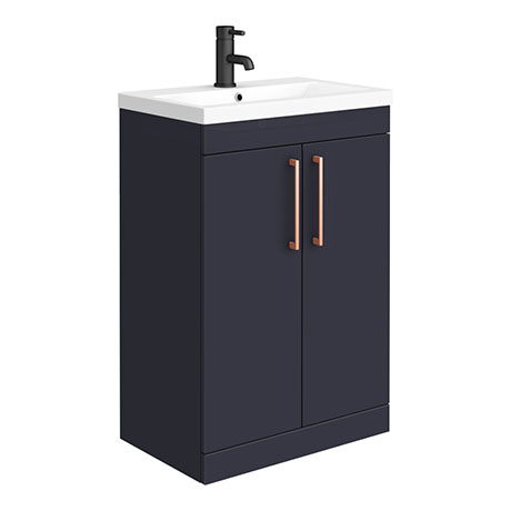 Arezzo 600 Matt Blue Floor Standing Vanity Unit with Rose Gold Handles