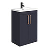 Arezzo 600 Matt Blue Floor Standing Vanity Unit with Rose Gold Handles profile small image view 1