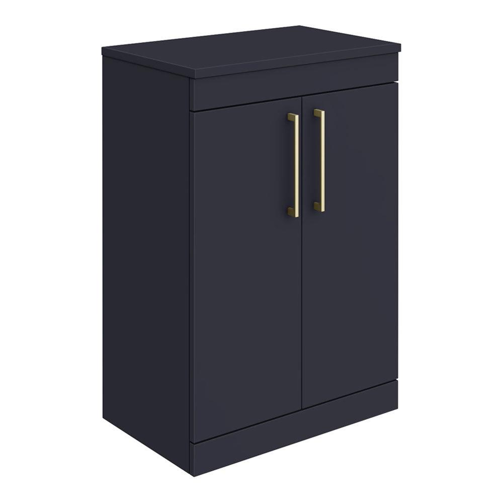 Arezzo 600 Matt Blue Floor Standing Vanity Unit with Worktop + Brushed Brass Handles