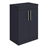 Arezzo 600 Matt Blue Floor Standing Vanity Unit with Worktop + Brushed Brass Handles profile small image view 1